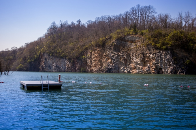 photo of swimming dock at meads quarry at ijams nature center