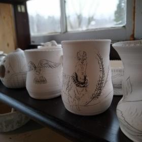 unglazed ceramic llama mug